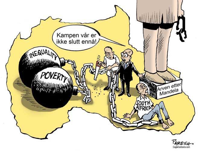 strektegning om utfordringer i Sør-Afrika