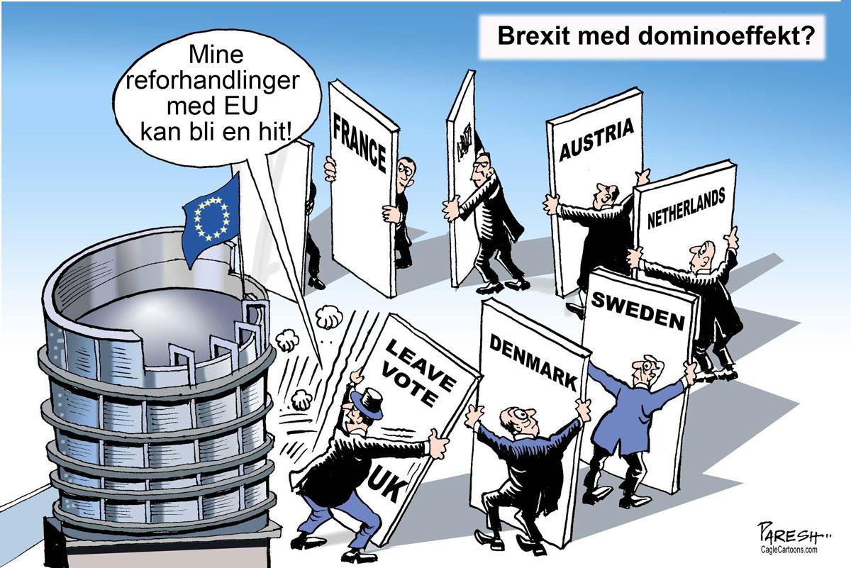 Tegning som antyder en dominoeffekt av Brexit