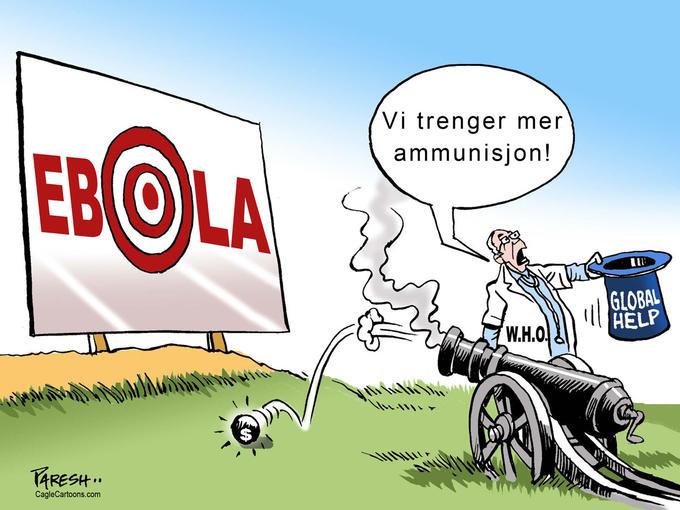 En tegning som problematiserer størrelsen på den internasjonale innsatsen mot ebola