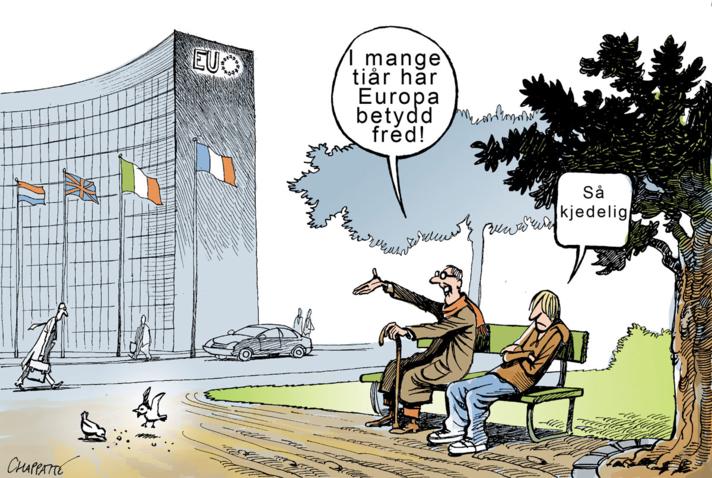Tegning der en ung og en gammel europeer tydeligvis ikke vektlegger fred like sterkt.