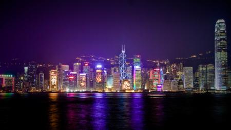 Bildet viser Hong Kongs skyline