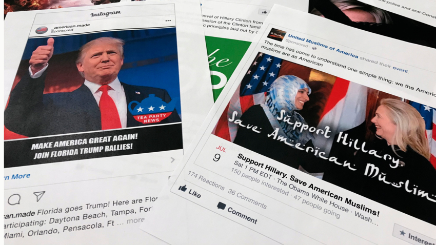 The photo shows Facebook and Instagram ads linked to a Russian effort to disrupt the American political process.