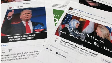 Bildet viser annonser i sosiale medier som skal ha blitt brukt til å forsyrre den amerikanske presidentvalgkampen i 2016.