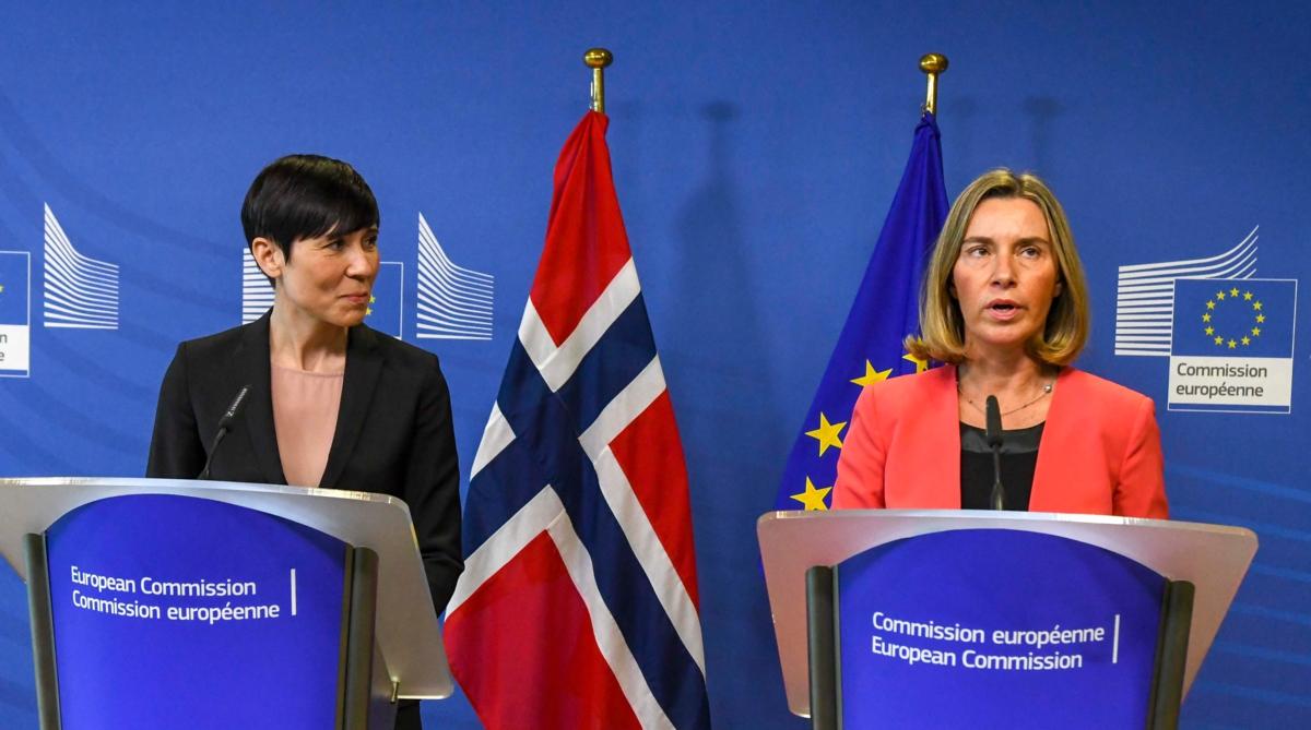 Bildet viser utenriksminister Ine Eriksen Søreide og EUs utenrikssjef Federica Mogherini.