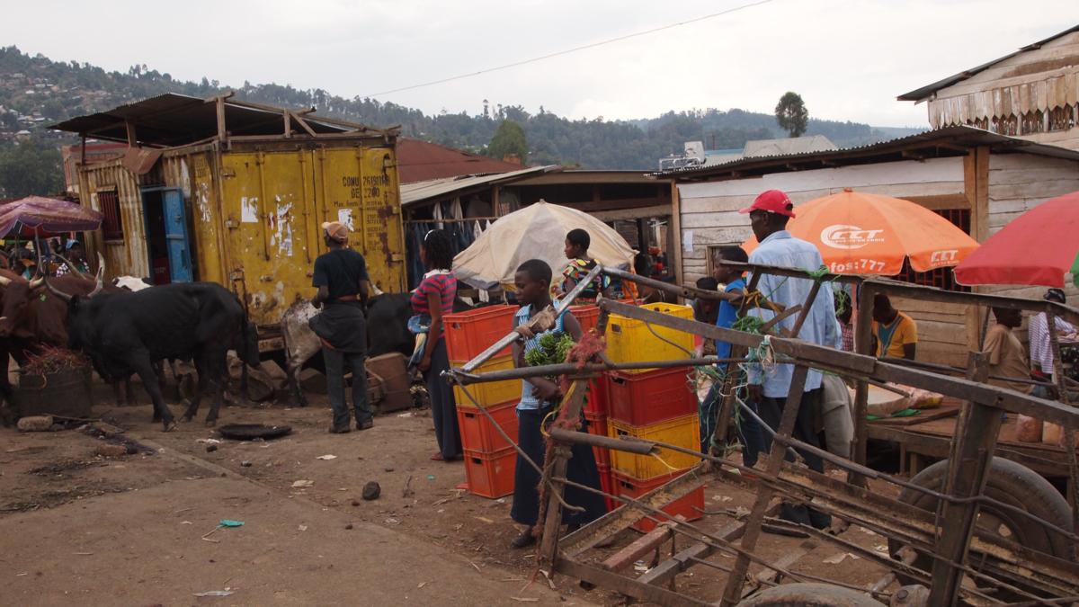 Bildet viser en gate i Kongo
