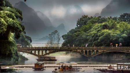 Bilde fra Li-elven i Sørvest-Kina