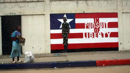Bildet viser et graffittimotiv fra Liberia