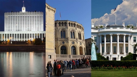 Bildet viser parlamentsbygningen i Russland, Stortinget og Det hvite hus