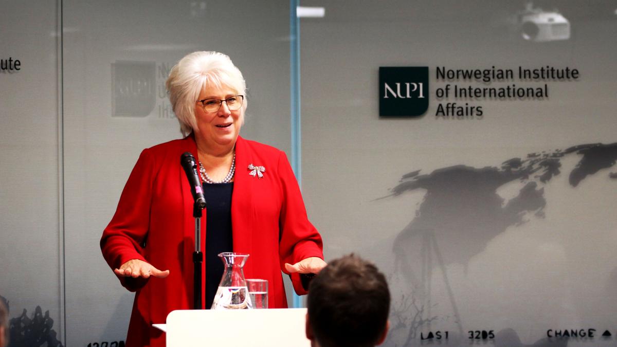 Marina Kaljurand besøkte NUPI i desember
