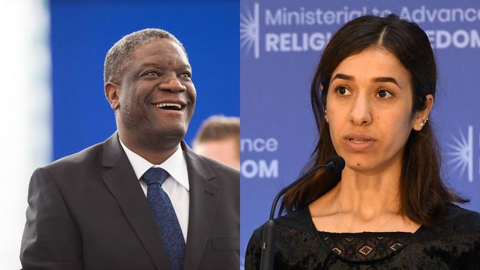 Bildet viser Denis Mukwege og Nadia Murad