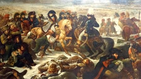 Bildet viser Napoleon på slagmarken