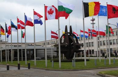 Bildet viser flagg i NATO