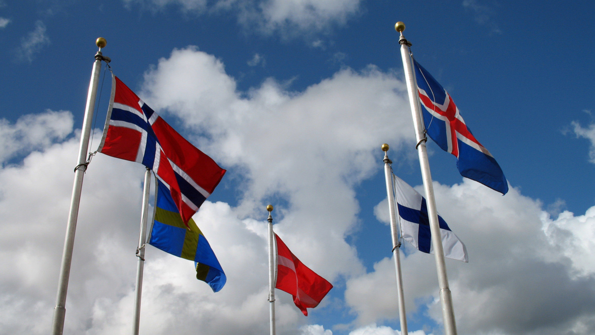 The image shows Nordic flags