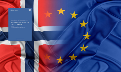 Bildet viser det norske flagget og EU-flagget som smelter sammen, med en blå bokforside lagt oppå.