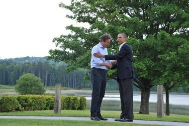 Bildet viser USAs president Barack Obama og Storbritannias statsminister David Cameron.