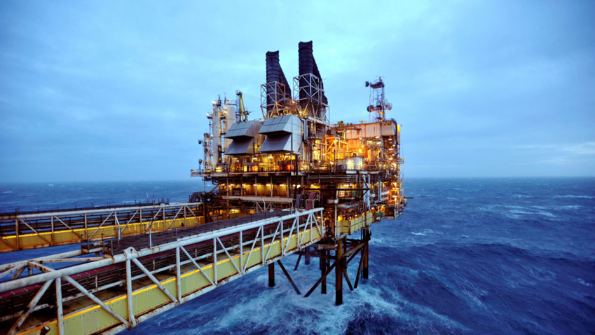 The image shows an oil platform