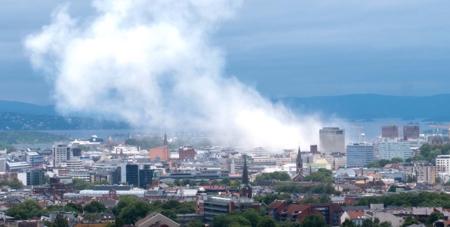 Bildet viser utsikt over Oslo etter 22. juli-bombingen