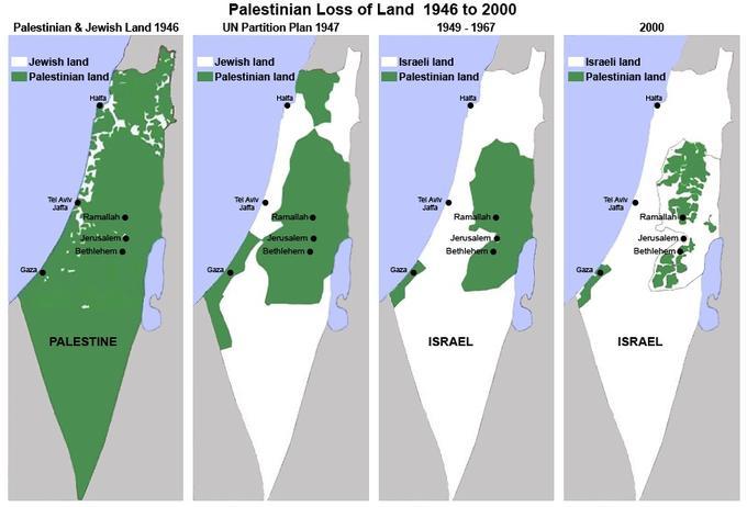 Disse kartene illustrerer verken staten Palestina (denne eksisterer ikke) eller palestinerne og israelernes eiendomsrett til land. De er en illustrasjon på hvordan området palestinerne har bodd på, gradvis har blitt mindre – fra britenes mandat over området og frem til år 2000.