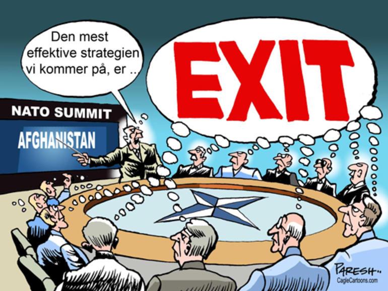 Tegning av NATO-militære som ønsker exit Afghanistan.
