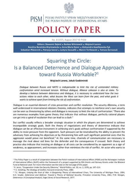PISM Policy Paper nr 4 (157): Squaring the Circle: Is a
